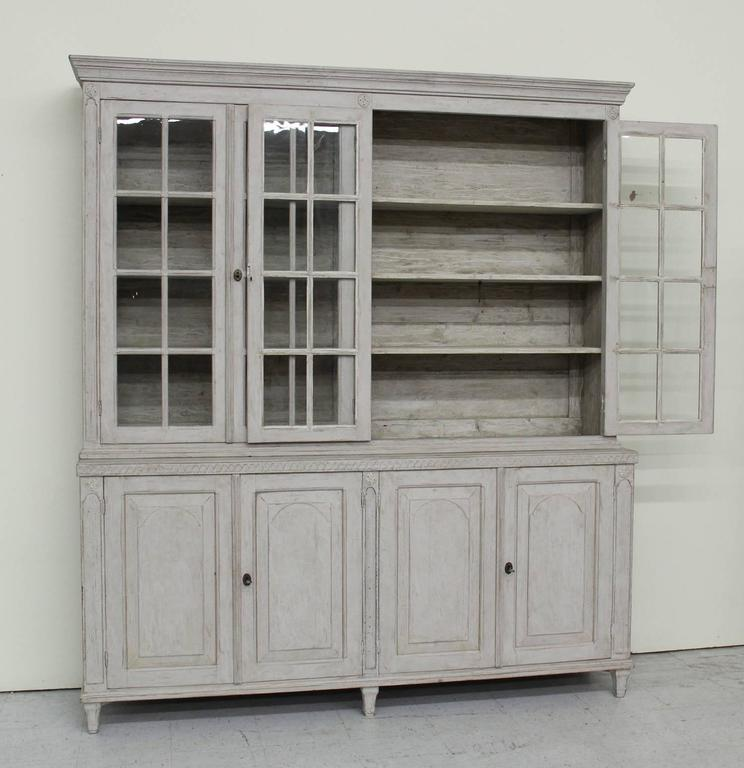 Swedish Late Gustavian Antique Four-Door Glass Vitrine Cabinet, 19th Century 5
