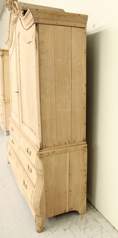 Dutch louis xv style linen press cabinet in bleached oak for Bleaching kitchen cabinets