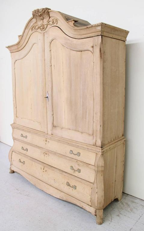 Dutch Louis XV Style Linen Press Cabinet in Bleached Oak, 19th Century Antique 10