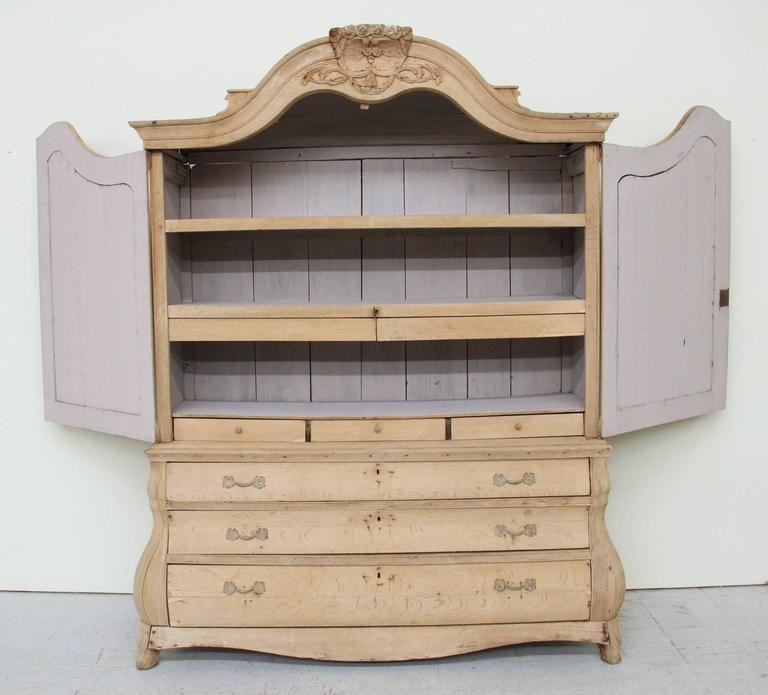 Dutch Louis XV Style Linen Press Cabinet in Bleached Oak, 19th Century Antique 5