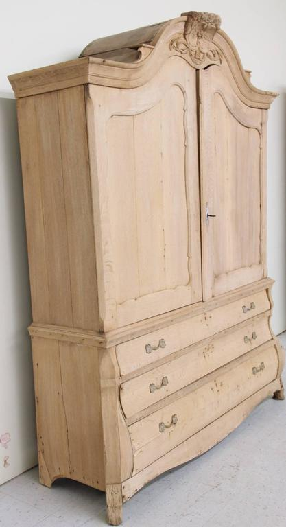 Dutch Louis XV Style Linen Press Cabinet in Bleached Oak, 19th Century Antique 9