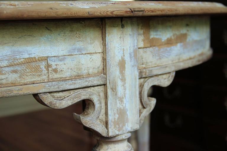 French Pair of Large Demilune Console Tables in Original Paint, 19th Century In Excellent Condition For Sale In Wichita, KS