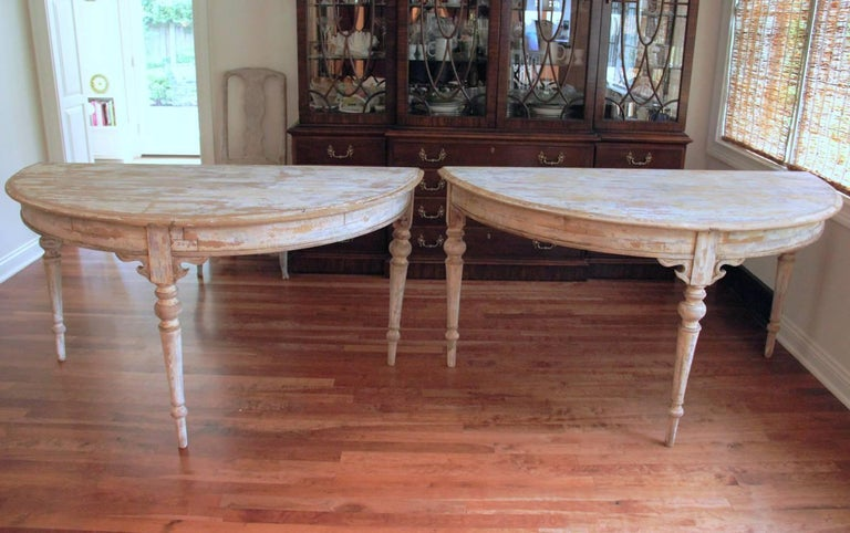 French Pair of Large Demilune Console Tables in Original Paint, 19th Century For Sale 1