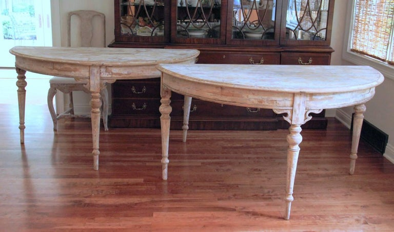 French Pair of Large Demilune Console Tables in Original Paint, 19th Century For Sale 2