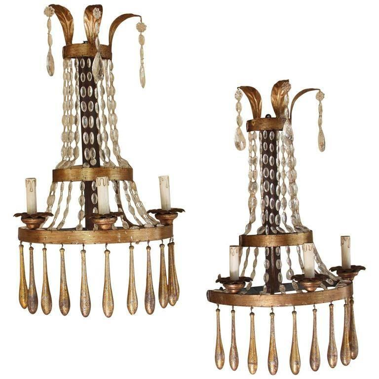 Large Pair of Vintage Italian Three-Candle Crystal Sconces at 1stdibs