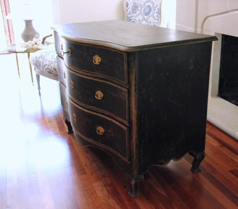 Swedish Rococo Period Black Serpentine Commode with Gilded Hardware and Date 5