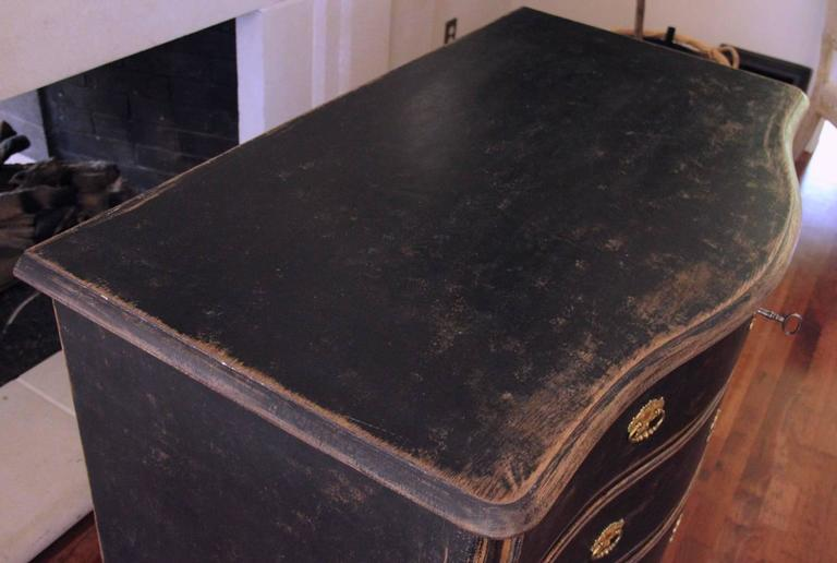 Swedish Rococo Period Black Serpentine Commode with Gilded Hardware and Date 7