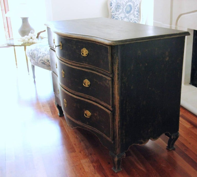 Swedish Rococo Period Black Serpentine Commode with Gilded Hardware and Date 9