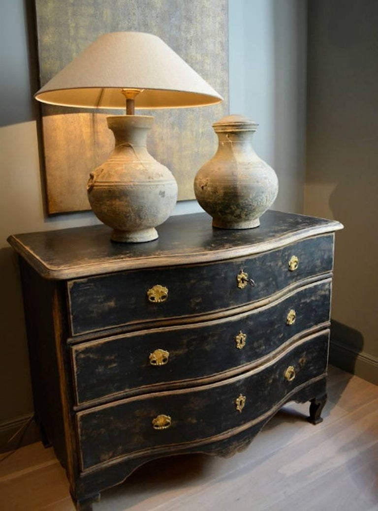 Swedish Rococo Period Black Serpentine Commode with Gilded Hardware and Date 3