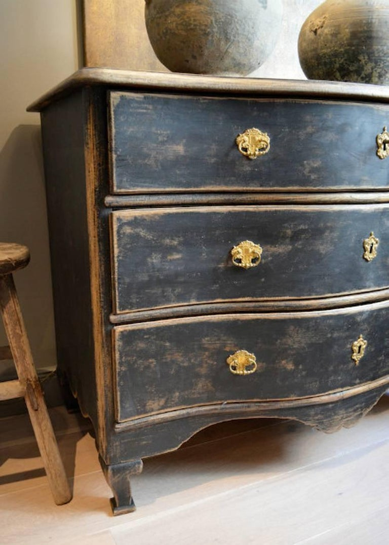 Swedish Rococo Period Black Serpentine Commode with Gilded Hardware and Date 4