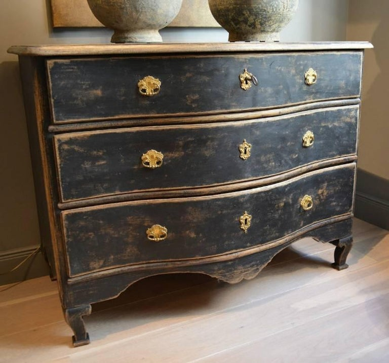 Swedish Rococo Period Black Serpentine Commode with Gilded Hardware and Date 2