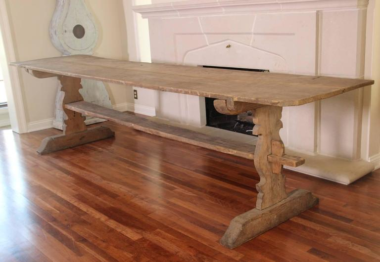 Swedish Gustavian Long Refectory Pine Trestle Dining Table, 19th Century Antique 3