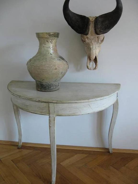 Pair of Swedish Rococo Demilune Bedside Tables or Console Dining Table 3