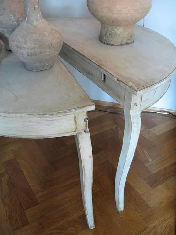 Pair of Swedish Rococo Demilune Bedside Tables or Console Dining Table 5