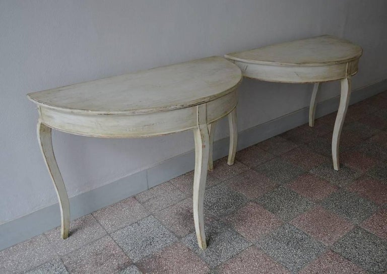 Pair of Swedish Rococo Demilune Bedside Tables or Console Dining Table 8