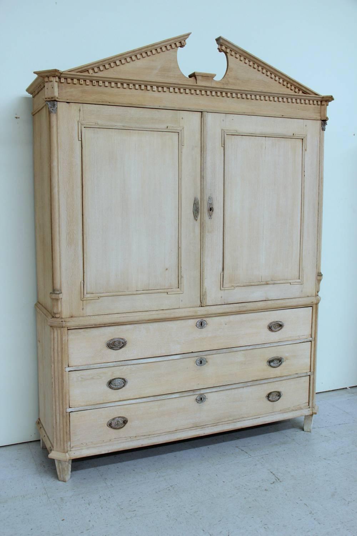 Dutch Neoclassical Linen Press Cabinet In Bleached Oak