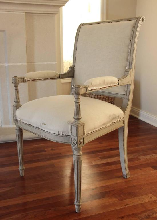 Set of Six 19th Century Swedish Painted Directoire Side Chairs & Two Armchairs 6