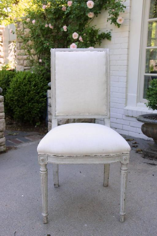 Set of Six 19th Century Swedish Painted Directoire Side Chairs & Two Armchairs 10