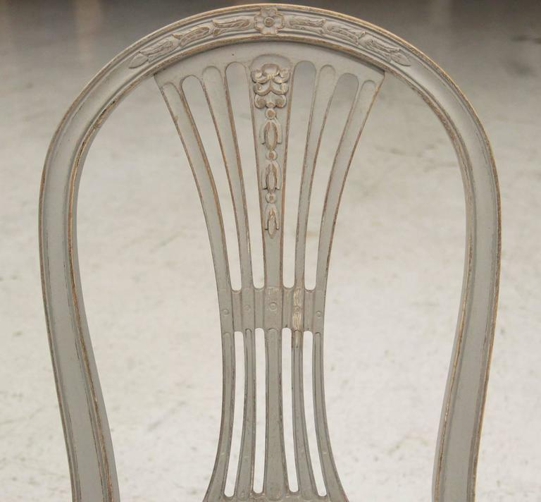 Set of Six Swedish Gustavian Style Painted Wood Side Chairs 3