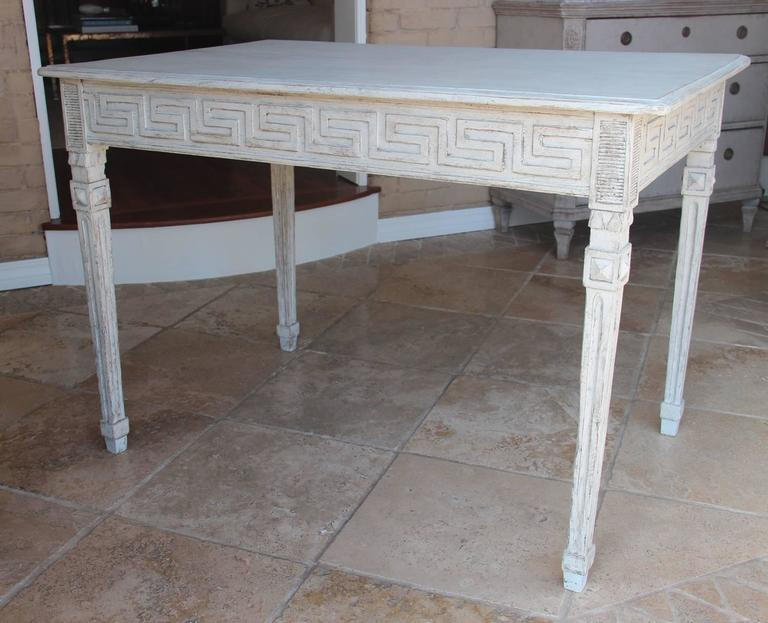 Hand-Carved Swedish Gustavian Painted Writing Desk with Drawer or Vanity Console Table For Sale