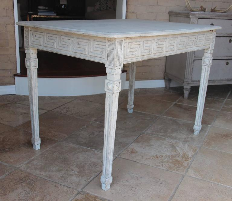 19th Century Swedish Gustavian Painted Writing Desk with Drawer or Vanity Console Table For Sale