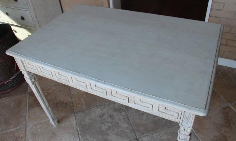 Swedish Gustavian Painted Writing Desk with Drawer or Vanity Console Table For Sale 1