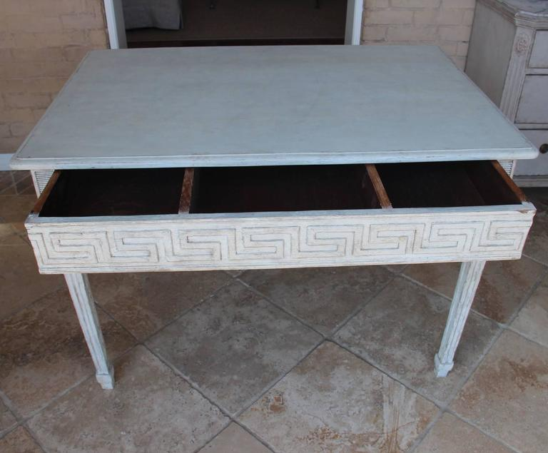 Swedish Gustavian Painted Writing Desk with Drawer or Vanity Console Table For Sale 2