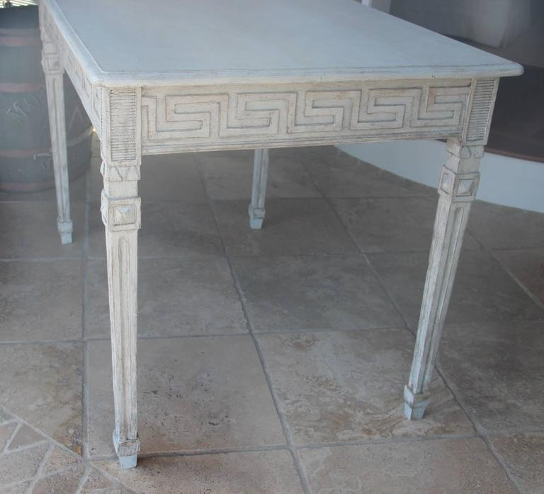 Swedish Gustavian Painted Writing Desk with Drawer or Vanity Console Table In Excellent Condition For Sale In Wichita, KS
