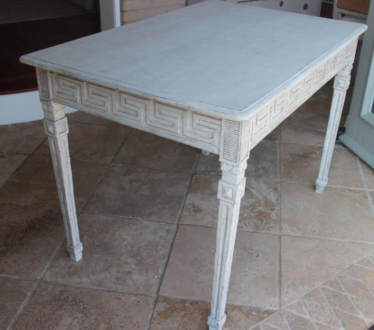 Pine Swedish Gustavian Painted Writing Desk with Drawer or Vanity Console Table For Sale