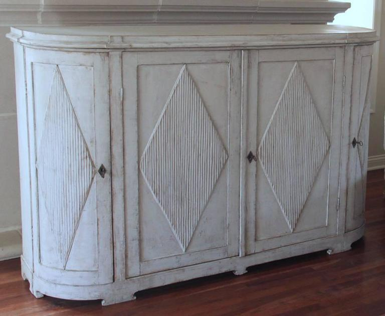 19th Century Swedish Gustavian Painted Sideboard Cabinet with Reeded Lozenges 2