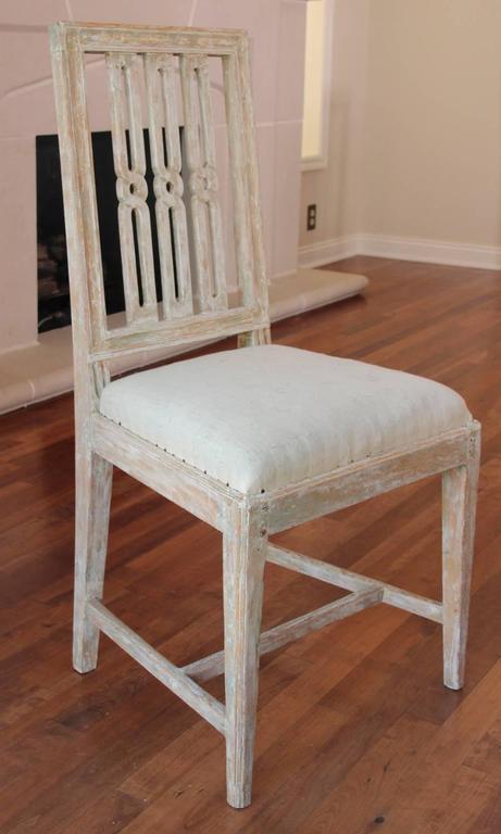 Set of Four 18th Century Swedish Period Gustavian Original Paint Dining Chairs 6