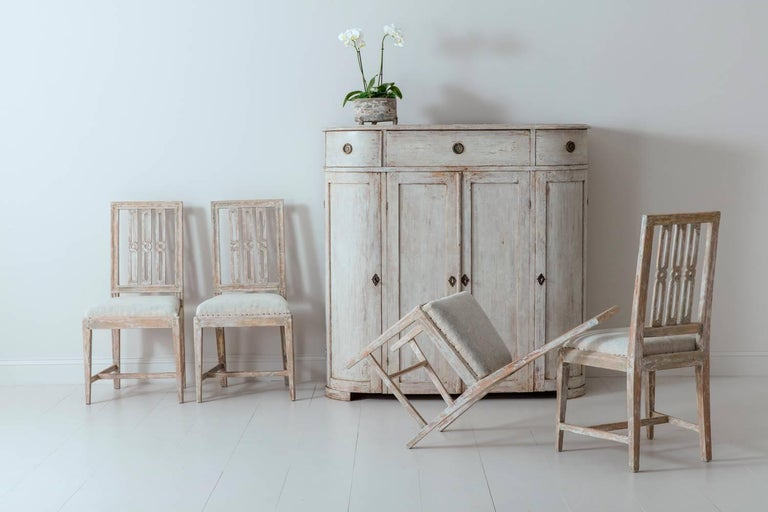 Set of Four 18th Century Swedish Gustavian Square Back Chairs in Original Paint  For Sale 3