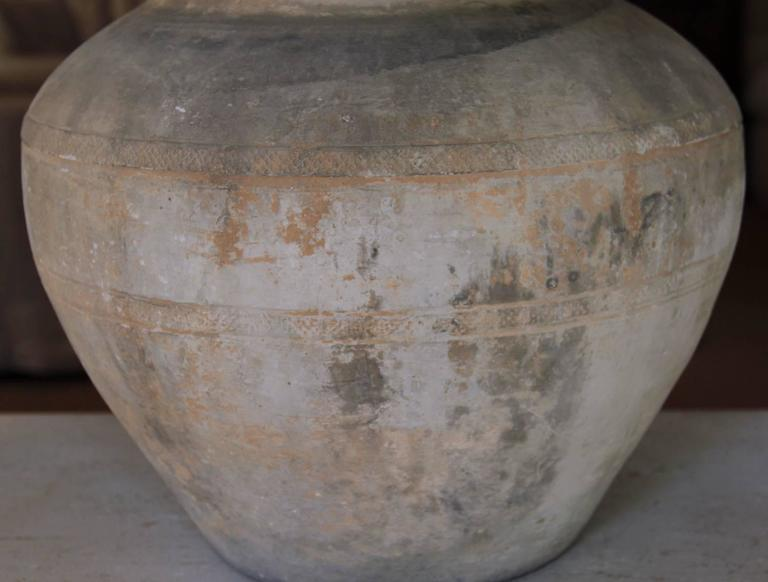Chinese Han Dynasty Large Unglazed Belly Vase As Table
