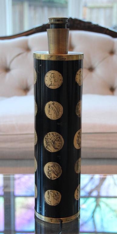 "Piero Fornasetti Black and Gold ""Cameo"" Mid-Century Italian Table Lamp 6"