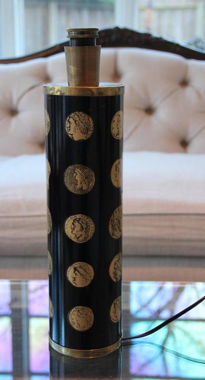 "Piero Fornasetti Black and Gold ""Cameo"" Mid-Century Italian Table Lamp 7"