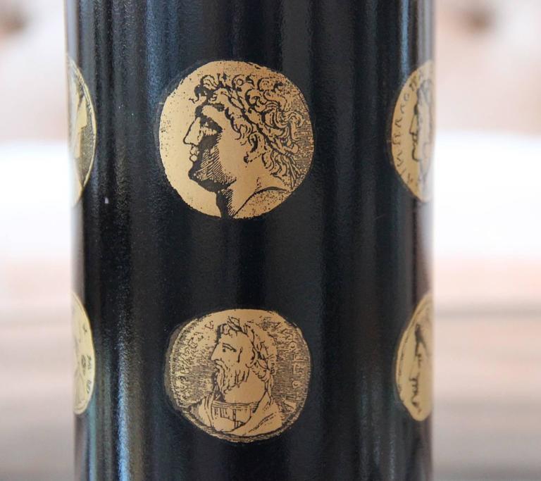 "Piero Fornasetti Black and Gold ""Cameo"" Mid-Century Italian Table Lamp 3"