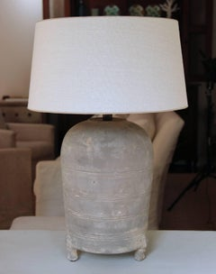 Chinese Han Dynasty Period Unglazed Grain Jar as Antique Table Lamp