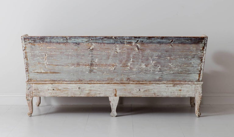18th Century Swedish Period Gustavian Trag Sofa Bench in Original Paint For Sale 4
