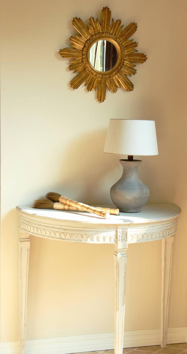19th Century Pair of Swedish Gustavian Bedside Demilune Console Tables For Sale 3