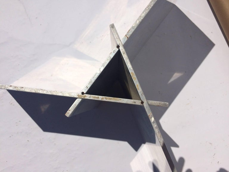 Aluminum and Glass Coffee Table In Fair Condition For Sale In Germantown, NY