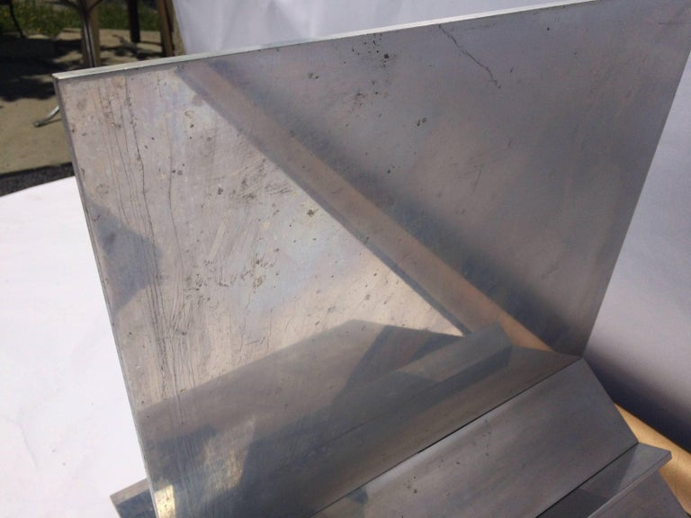 Aluminum and Glass Coffee Table For Sale 1
