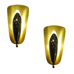 Pair 1950s Petite Gold Brass Sconces, 1950s Modernist Design, Stilnovo Style