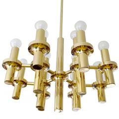 Mid Century Modern Sciolari Brass Chandelier,  1960s Gio Ponti Era