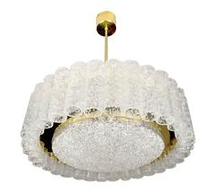 MidCentury Doria Brass Murano Glass Chandelier Pendant Light , 1960s