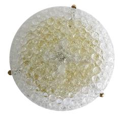 Large Murano Bubble Glass & Brass Flush Mount Light, 1960s Modernist Lamp