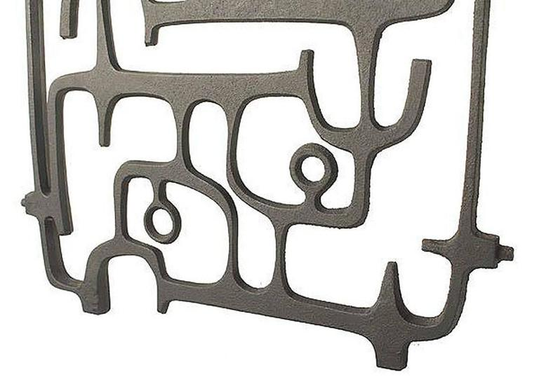 Mid-20th Century MidCentury Cast Iron Wall Sculpture, 1960s Modernist Design, Moore Capron Era For Sale