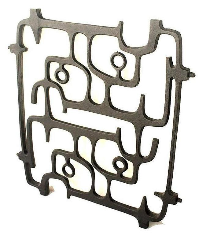 French MidCentury Cast Iron Wall Sculpture, 1960s Modernist Design, Moore Capron Era For Sale