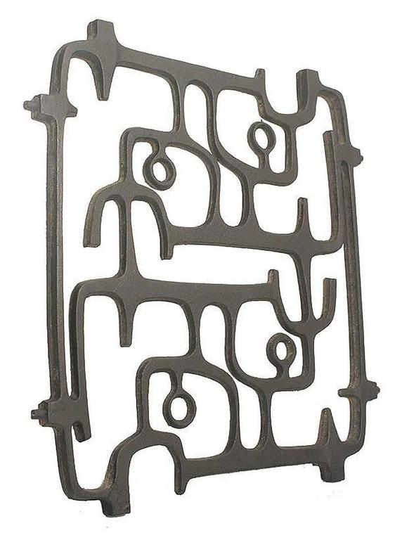 Mid-Century Modern MidCentury Cast Iron Wall Sculpture, 1960s Modernist Design, Moore Capron Era For Sale