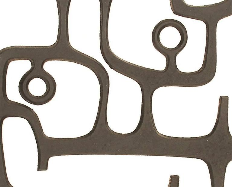 MidCentury Cast Iron Wall Sculpture, 1960s Modernist Design, Moore Capron Era For Sale 3