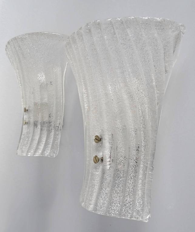 Pair Mid Century Modern Glass Mirror Vanity Sconces, 1960s  For Sale 2